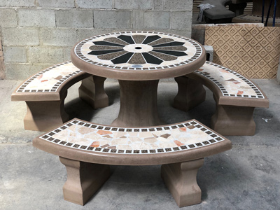Tremendous Laguna Precast Concrete Tables Sets With Plain Tile Or Home Interior And Landscaping Fragforummapetitesourisinfo